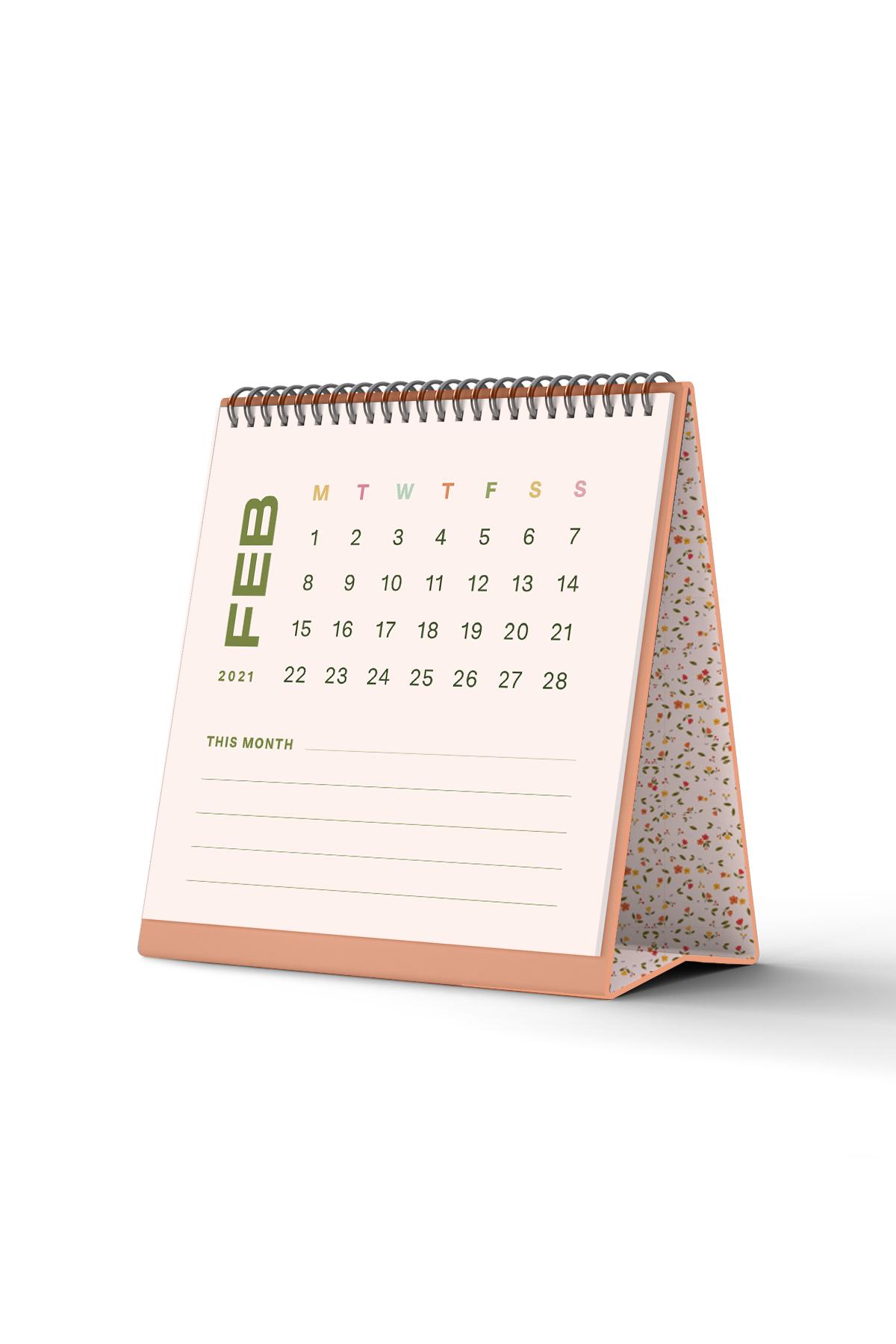 Minimal Mini Standing Desktop Calendar 2021