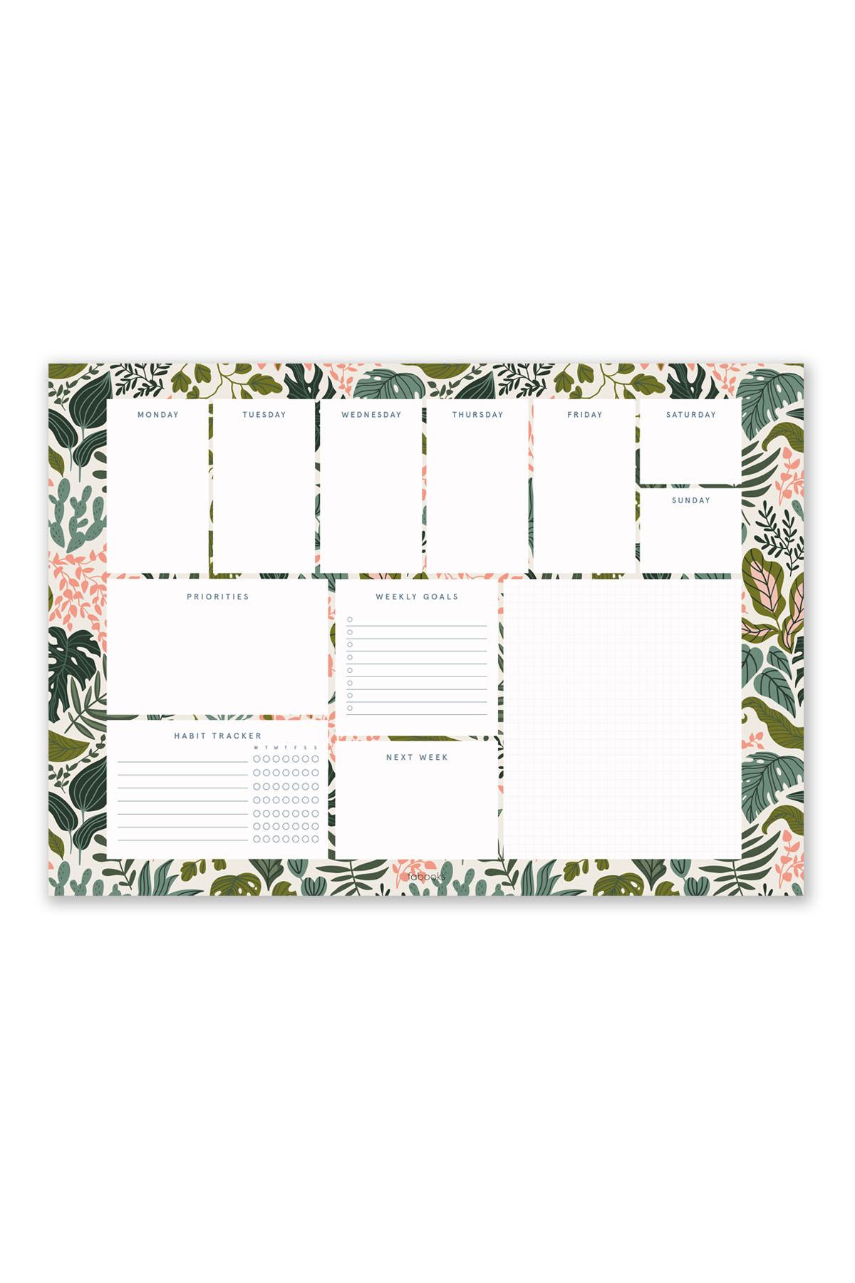 Tropical Leaves Weekly Planner Notepad