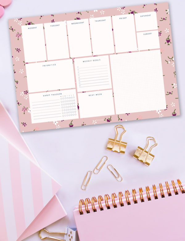 Tiny Flowers Weekly Planner Notepad