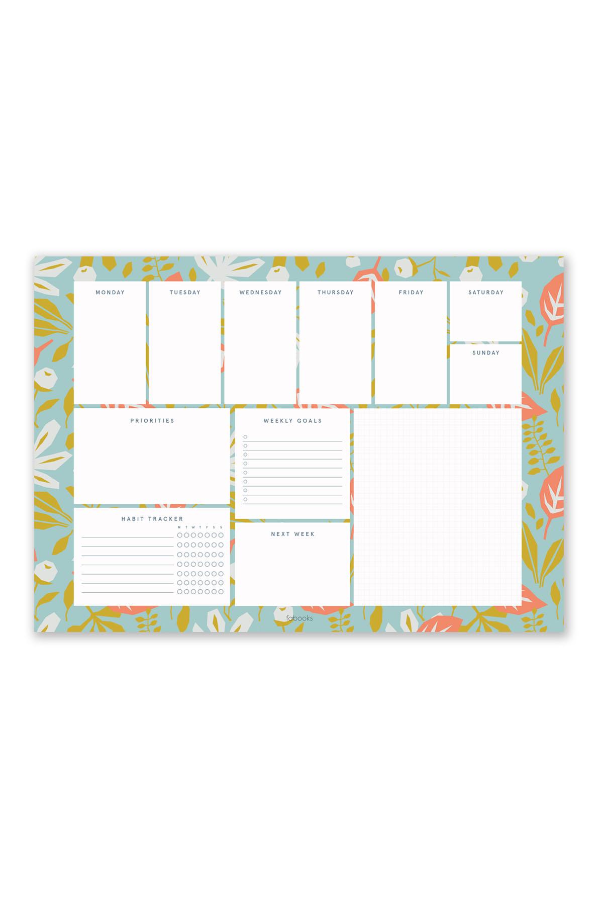 Green – Orange Weekly Planner Notepad
