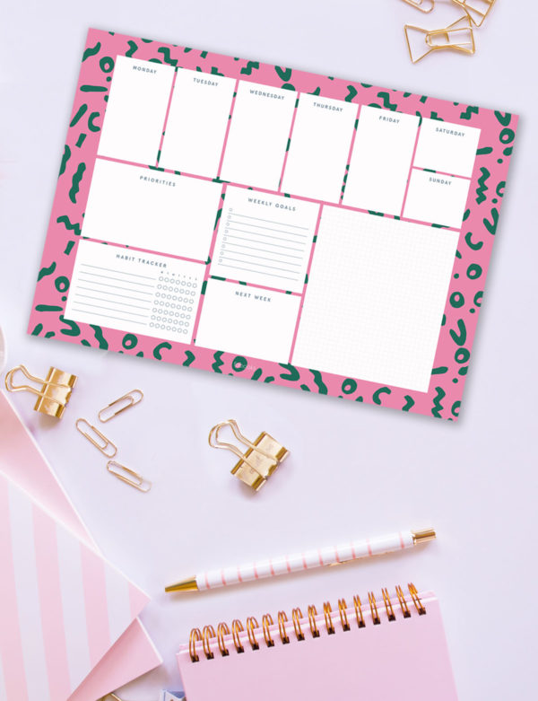 Pink – Green Weekly Planner Notepad