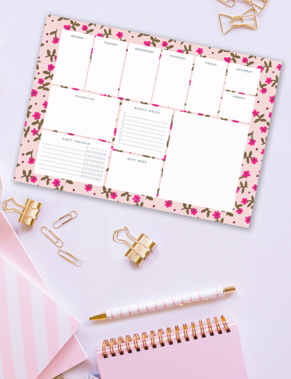 Pink Flowers Weekly Planner Notepad