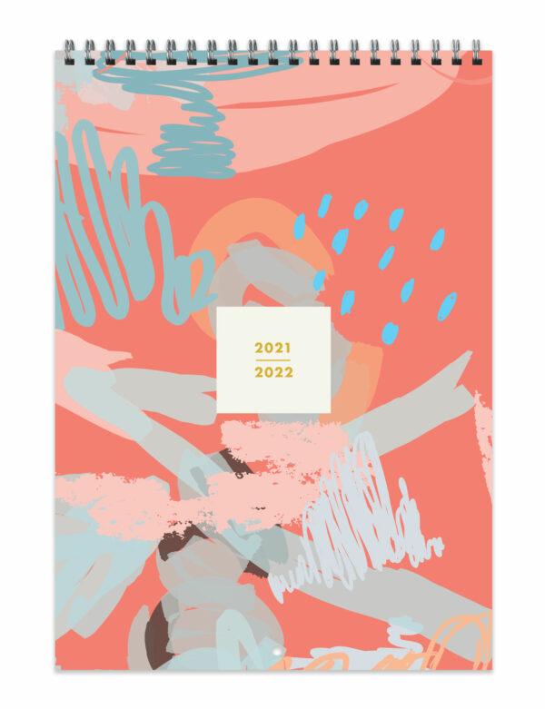 2021-2022 Pink Abstract Mid-Year Academic Wall Calendar