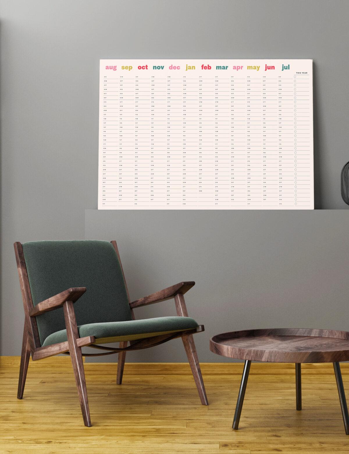 2021-2022 Mid-Year Wall Planner, Wall Calendar, Minimal Beige Wall